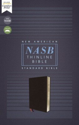 NASB Comfort Print Thinline Bible, Red Letter Edition--bonded leather, black  -