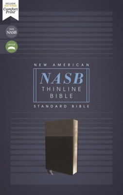 NASB Comfort Print Thinline Bible, Red Letter Edition--soft leather-look, black  -