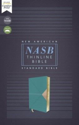 NASB Comfort Print Thinline Bible, Red Letter Edition--soft leather-look, teal  -
