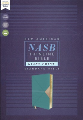 NASB Giant-Print Thinline Bible, Red Letter Edition--soft leather-look, teal  -