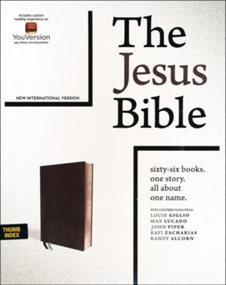 NIV Comfort Print Jesus Bible--soft leather-look, black (indexed)  -     By: Louie Giglio, Max Lucado, John Piper, Ravi Zacharis & Randy Alcorn