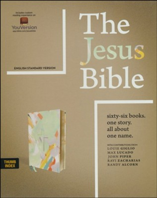 The Jesus Bible, ESV Edition--soft leather-look,  multi-color/teal (indexed)  -     By: Passion