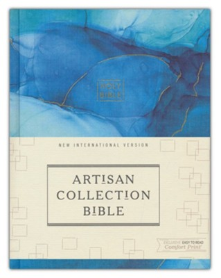NIV, Artisan Collection Bible, Cloth over Board, Blue, Art Gilded Edges, Red Letter Edition, Comfort Print  -