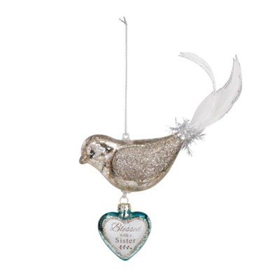 Blessed with A Sister, Bird, Dangle Heart Ornament  -