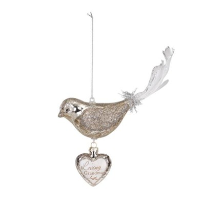 Loving Grandma, Bird, Dangle Heart Ornament  -