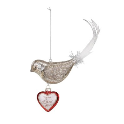 You Are Loved, Bird, Dangle Heart Ornament  -