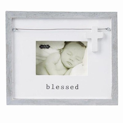 Blessed, Photo Frame With Wooden Cross Charm  -