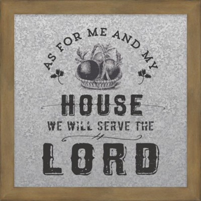 As For Me and My House Galvanized Metal Plaque  -