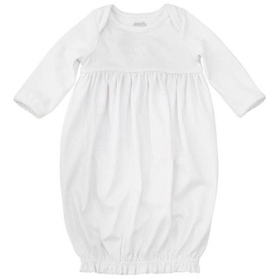 Christening Gown With French Knot Cross, And Elastic Ruffle Hem  -