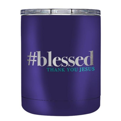 #blessed, Thank You Jesus, Stainless Steel Tumbler, Purple  -