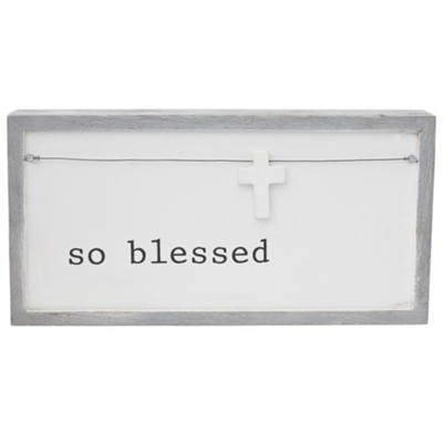 So Blessed, Attached Wire Accent, Wooden Cross Charm  -
