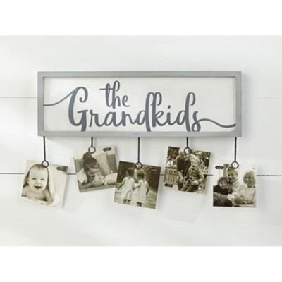 The Grandkids Photo Holder, White-Washed Wood, 5 Photo Clips  -
