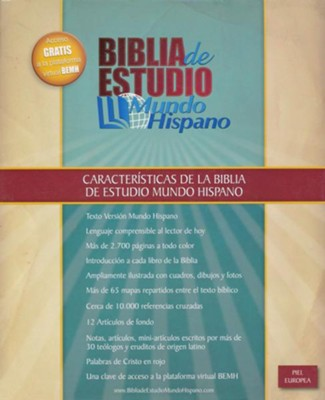 Biblia de Estudio Mundo Hispano, Piel Europea Marrón  (Mundo Hispano Study Bible, Brown Imitation Leather)   -