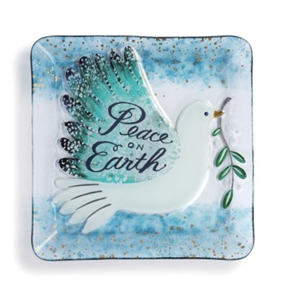 Peace on Earth, Dove, Square Plate  -     By: Lori Siebert