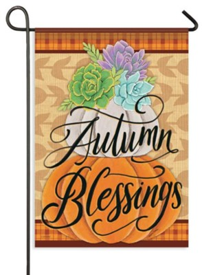 Pretty Pumpkin Stack, Autumn Blessings Flag, Small  -     By: Deb Strain