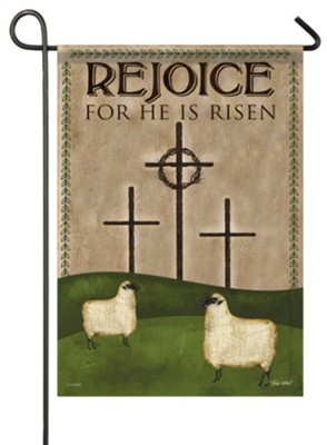 Rejoice, He Is Risen, Calvary, Small Flag  -     By: Beth Albert