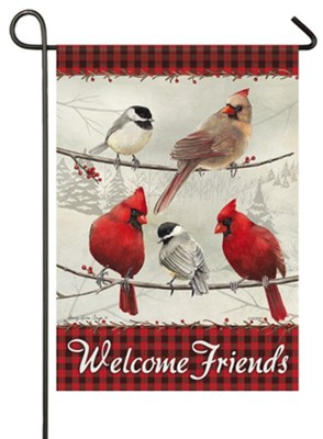 Welcome Friends, Cardinals, Flag, Small  -     By: Sandy Clough