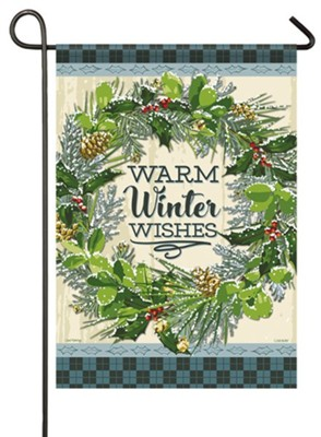 Warm Winter Wishes, Snowy Wreath, Flag, Small  -     By: Sarah Frederking