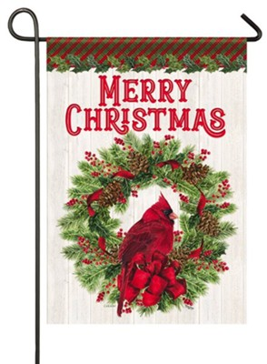 Merry Christmas, Cardinal and Wreath, Flag, Small  -     By: Tara Reed