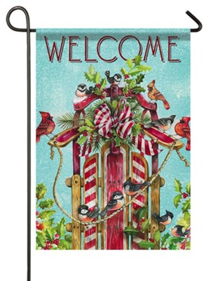 Welcome, Songbird Sled, Flag, Small  -     By: Ronnie Rooney
