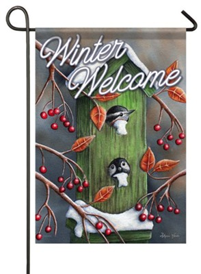 Winter Welcome, Chickadees, Flag, Small  -     By: Sheri Hart