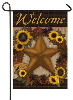 Welcome, Sunflower Harvest Wreath, Flag, Small  -     By: Carrie Knoff