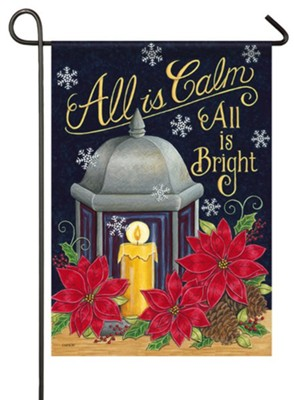 All Is Calm All Is Bright, Lantern, Candle, Small  -     By: Deb Strain