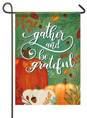Gather and Be Grateful, Pumpkins, Flag, Small  -     By: Jennifer Pugh