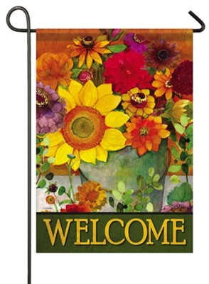 Welcome, Autumn Flower Bucket, Flag, Small  -     By: Sue Zipkin