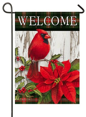 Welcome, Sweet Cardinal Christmas, Flag, Small  -     By: Sandy Clough