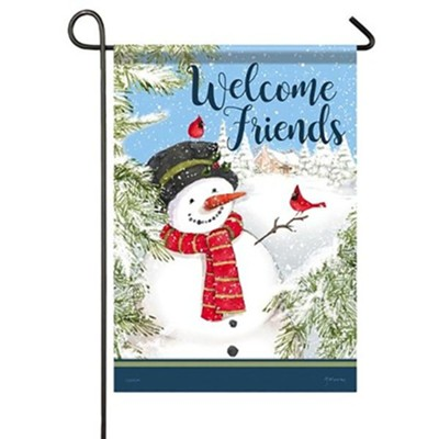 Welcome Friends, Cardinal Snowman, Flag, Small  -     By: Gerry Murray