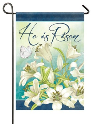 He Is Risen, Blooming Lilies, Flag, Small  -     By: Nicole Tamarin