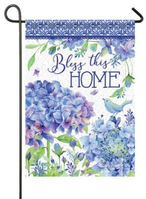 Bless This Home, Petals and Patterns, Glitter Flag, Small  -     By: Rebecca Canale