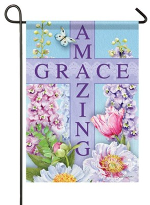 Amazing Grace, Cross, Amazing Inspiration, Flag, Small  -     By: Barb Tourtillotte