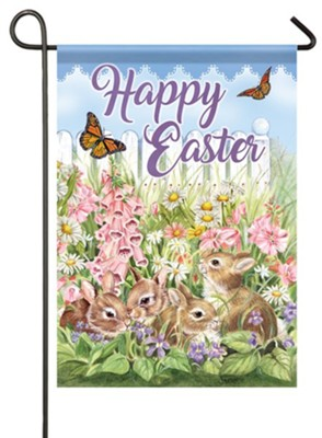 Happy Easter, Flower Bunnies, Flag, Small  -     By: Janet Skiles