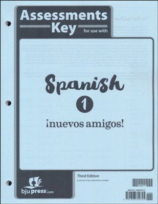 BJU Press Spanish 1 Tests Answer Key (3rd Edition)  -