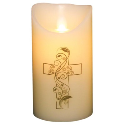 Flameless LED Candle, Ivory with Cross, 6 Inches  -