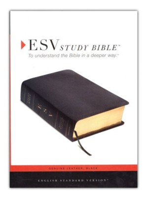 ESV Study Bible--Genuine leather, black  -