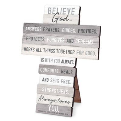 Believe God, Stacking Words Cross  -