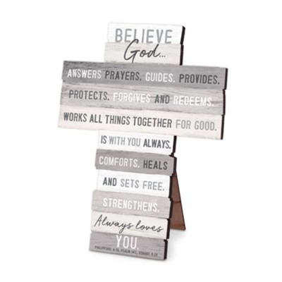Believe God, Stacking Words Small Cross  -