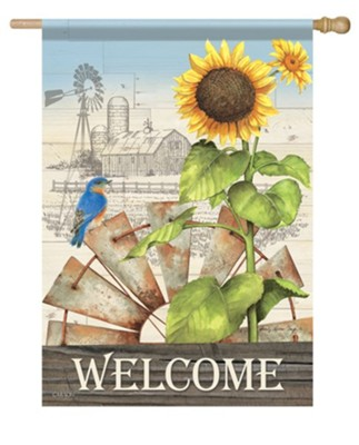 Welcome, Windmill, Farm, Flag, Large  -     By: Sandy Clough