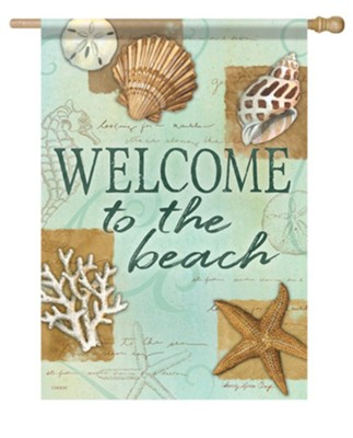 Welcome to the Beach, Shells, Flag, Large  -     By: Sandy Clough