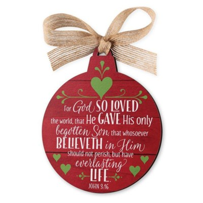 Believe, Red Barnwood Ornament  -