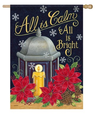 All Is Calm All Is Bright, Lantern, Candle, Large  -     By: Deb Strain