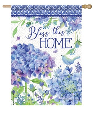 Bless This Home, Petals and Patterns, Flag, Large  -     By: Rebecca Canale