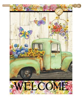 Welcome, Pickup Truck, Fresh Flowers, Flag, Large  -     By: Sandy Clough