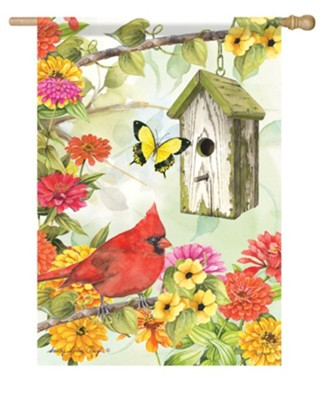 Cardinal Birdsong Flag, Large  -     By: Sandy Clough