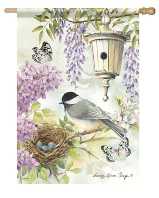 Chickadee Birdsong Flag, Large  -     By: Sandy Clough