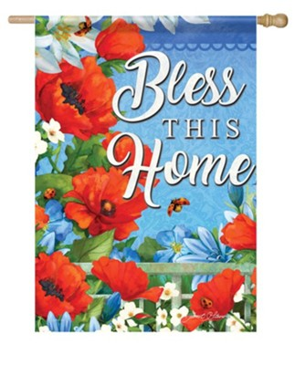 Bless This Home, Colorful Garden, Flag, Large  -     By: Janet Stever