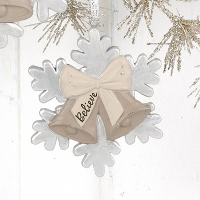 Believe, Christmas Bells and Snowflake, Ornament  -     By: Barbara Lloyd